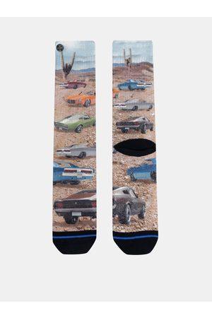Xpooos Béžové pánské vzorované ponožky