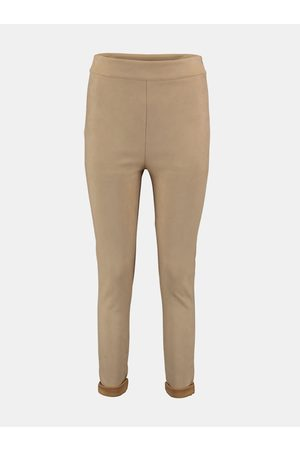 Hailys Béžové skinny fit kalhoty v semišové úpravě