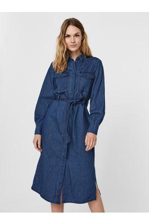 VERO MODA Modré džínové košilové midišaty
