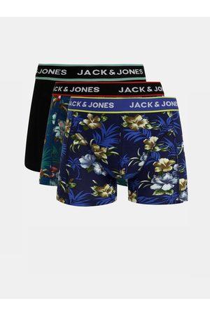JACK & JONES Sada tří boxerek v modré a černé barvě Flower