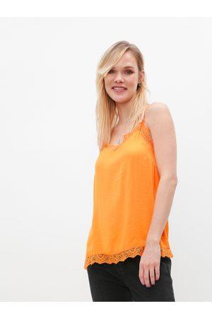 VILA Oranžový top s krajkou Ava