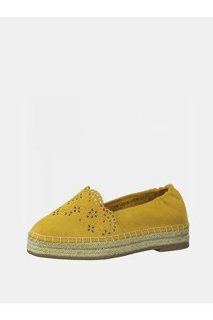Tamaris Žluté semišové espadrilky