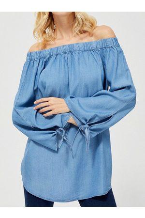 MOODO Ženy Džínové košile - Denimová tunika na ramena