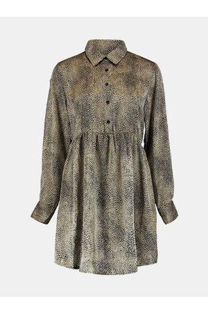 Zabaione Béžové vzorované košilové šaty