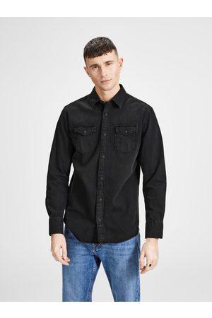 JACK & JONES Černá džínová košile