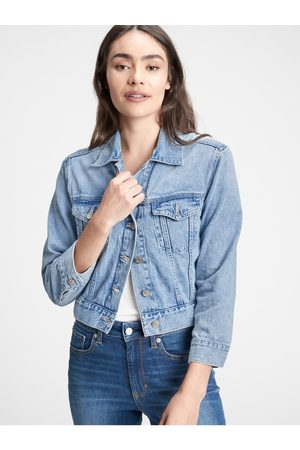 GAP Dámská džínová bunda v-crop relaxed icon jkt lt anita