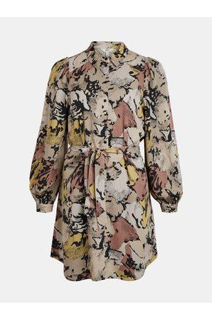 Object Béžové vzorované volné šaty -Stine
