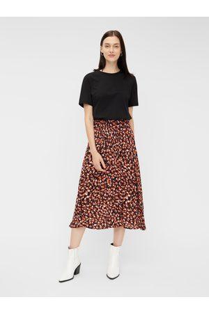 Pieces Červená vzorovaná midi sukně Raya