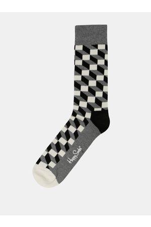 Happy Socks Ponožky v bílé, černé a šedé barvě Filled Optic