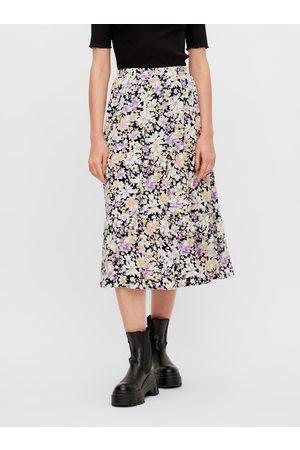Pieces Černo- květovaná midi sukně Karry