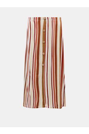 ONLY Hnědo- pruhovaná midi sukně Louisa