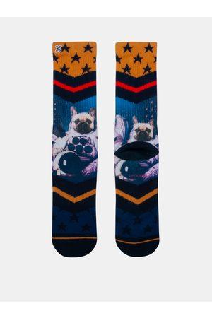Xpooos Modro-žluté pánské ponožky
