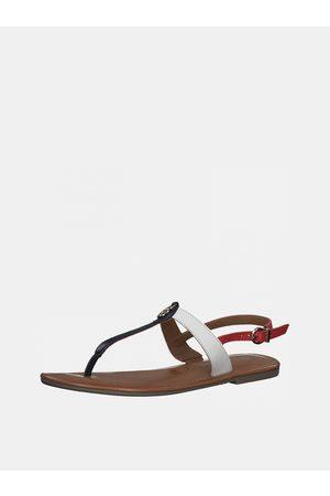 Tamaris Bílo-modré kožené sandály