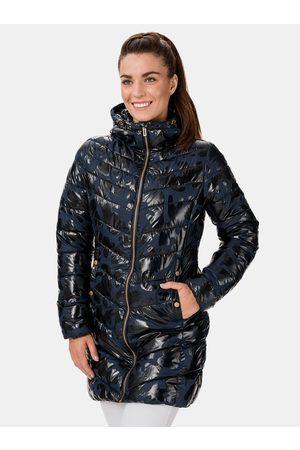 sam 73 Modrý dámský prošívaný vzorovaný kabát Alisha