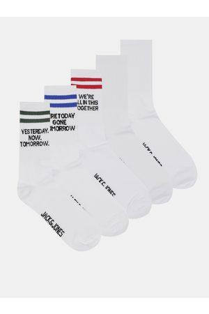 JACK & JONES Sada pěti párů bílých ponožek