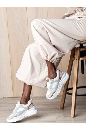 MUSK Bílo-šedé dámské tenisky na platformě