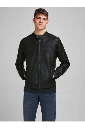 JACK & JONES Černá koženková bunda Warner