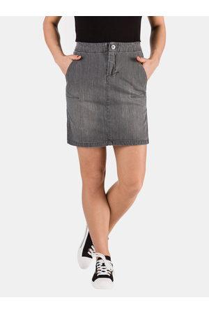 sam 73 Šedá dámská džínová pouzdrová sukně