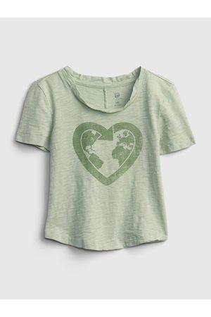 GAP Zelené holčičí dětské tričko gen good graphic t-shirt