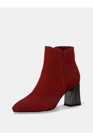 Tamaris Červené semišové kotníkové boty