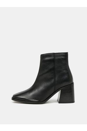 Dorothy Perkins Černé kožené kotníkové boty