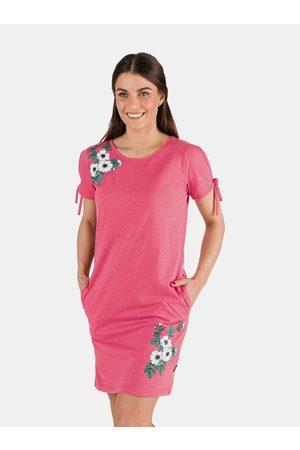 sam 73 Růžové dámské šaty s potiskem