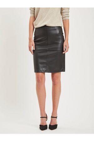 VILA Černá koženková pouzdrová sukně s rozparkem Pen New
