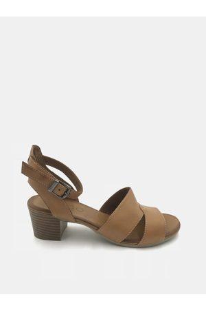 WILD Hnědé kožené sandálky na podpatku