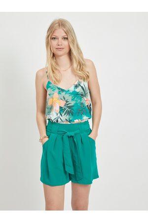 VILA Zelený květovaný top Suvita