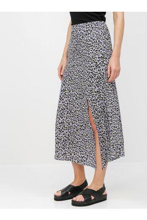 Miss Selfridge Fialová midi sukně s leopardím vzorem