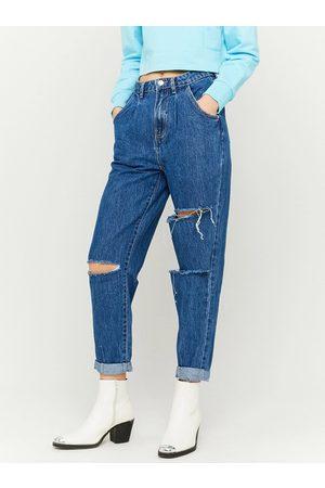 Tally Weijl Modré zkrácené mom fit džíny