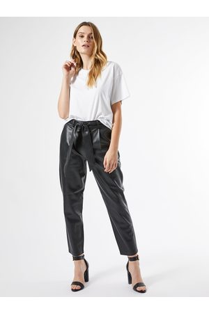 Dorothy Perkins Černé zkrácené koženkové kalhoty