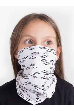Fusakle Bílý dětský vzorovaný šátek 3v1