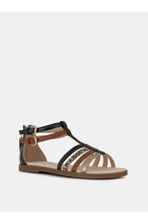 Geox Hnědé holčičí kožené sandály