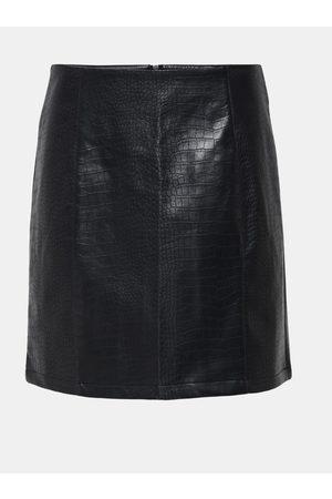 JACQUELINE DE YONG Černá koženková sukně s krokodýlím vzorem Val