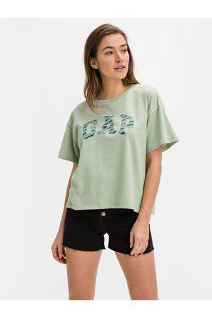 GAP Zelené dámské tričko Logo easy heavyweight t-shirt