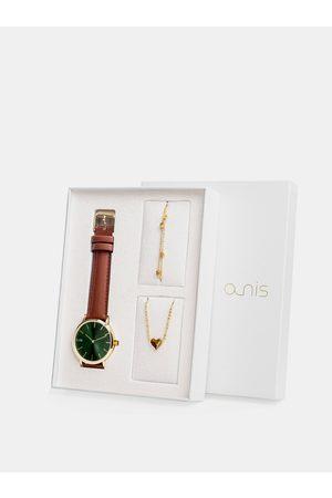A-NIS Sada dámského náramku, náhrdelníku a hodinek s hnědým koženým páskem