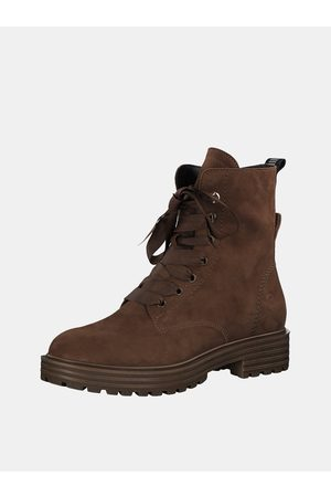 Tamaris Hnědé kožené kotníkové boty