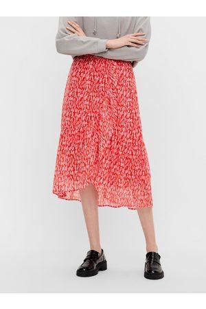 Pieces Červená vzorovaná midi sukně Rio