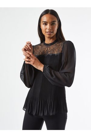 Dorothy Perkins Černá plisovaná halenka s krajkou