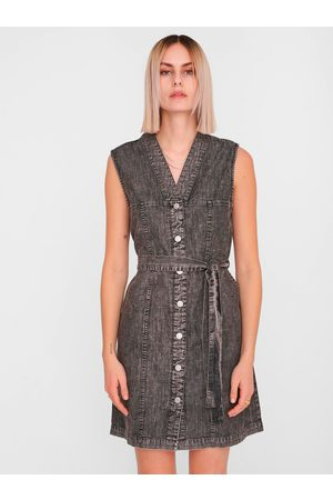 Noisy May Tmavě šedé džínové košilové šaty Verita