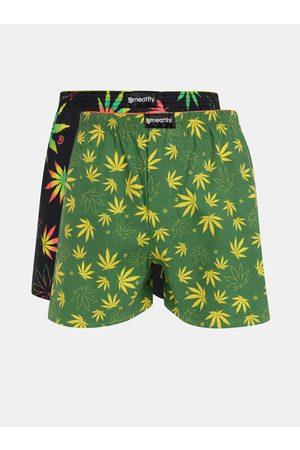 MEATFLY Sada dvou pánských vzorovaných boxerek v zelené a černé barvě Agostino