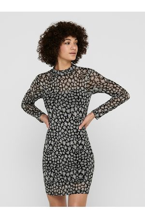 JACQUELINE DE YONG Černé vzorované pouzdrové šaty Camille