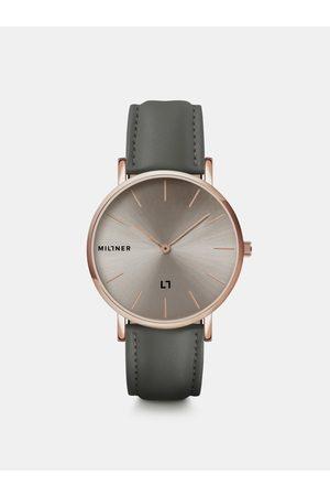 Millner Dámské hodinky s šedým koženkovým páskem Hallfield