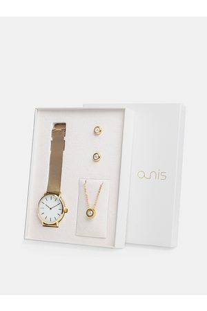 A-NIS Sada dámských hodinek, náušnic a řetízku ve zlaté barvě
