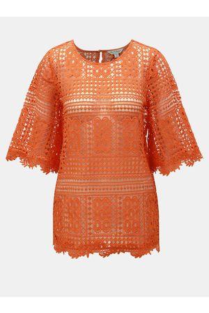 Miss Selfridge Oranžový krajkový top