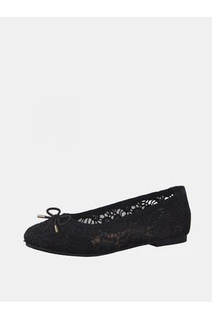 Tamaris Černé květované baleríny