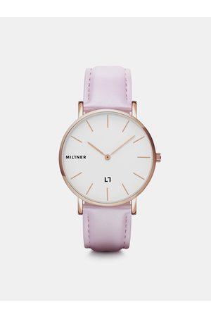 Millner Dámské hodinky s růžovým koženkovým páskem Hallfield