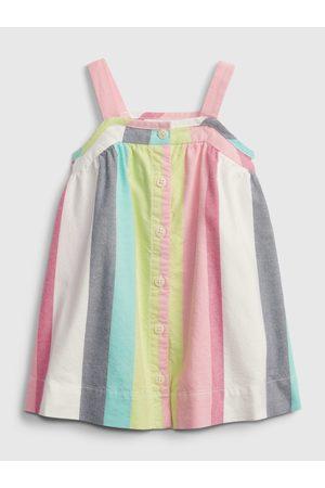 GAP Barevné holčičí baby šaty stripe button dress
