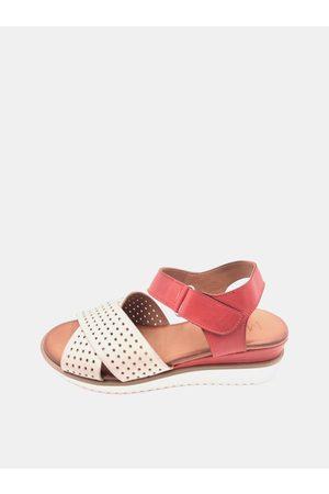 WILD Bílo-červené dámské kožené sandálky na klínku